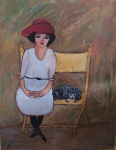 WOMAN AND DOG ON A BENCH